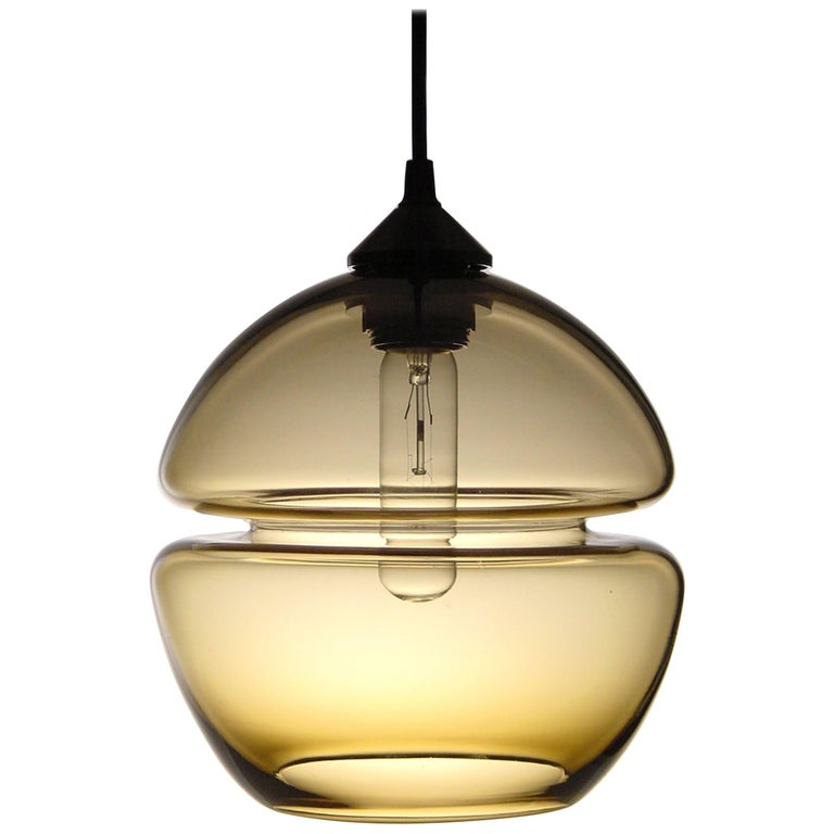 Groove Series Orb Pendant, Contemporary Handmade Glass Lighting  For Sale