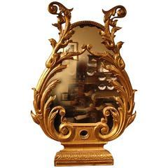 Italian Lyre Form Giltwood Mirror Retaining Original Plate