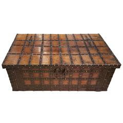 19th Century, Teak Anglo-Indian Iron Strapped Chest