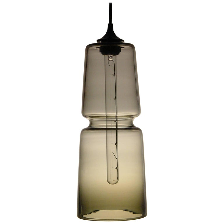 Groove Series Cylinder Pendant, Modern Handmade Glass Lighting - In Stock For Sale