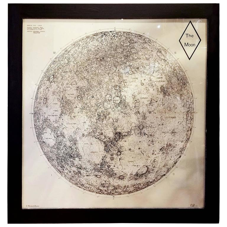 Limited Edition Orthographic Drawing Print of the Moon For Sale