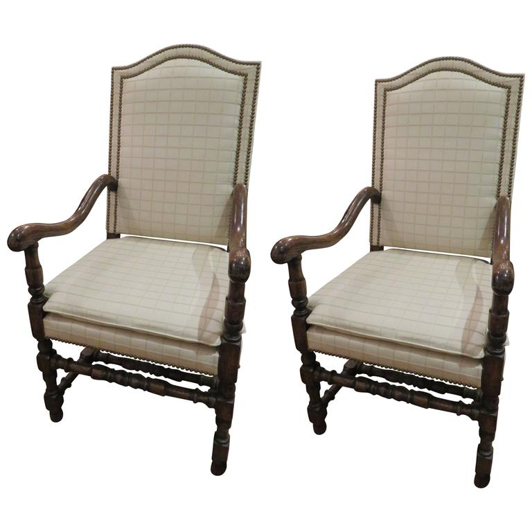 Pair of English Jacobean Revival Oak Wood Armchairs 1