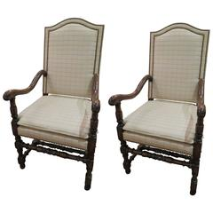 Pair of English Jacobean Revival Oak Wood Armchairs