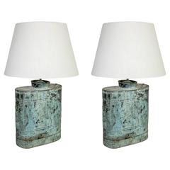 Pair of Copper Naturally Oxidized Vessel Lamps Sold Individually