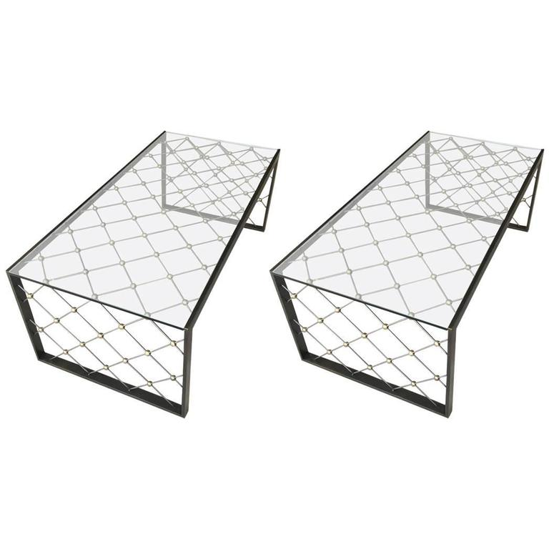 "Pair of Jean Royère ""Tour Eiffel"" Inspired Cocktail Tables by Carole Gratale 1"