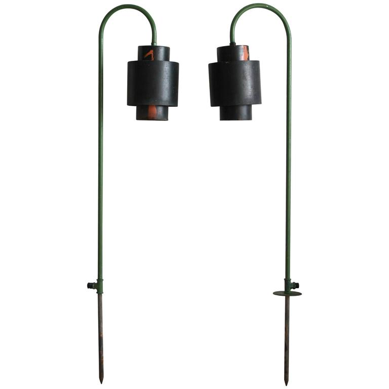 Pair of over Arching Green and Black Painted Metal Outdoor Lanterns 1