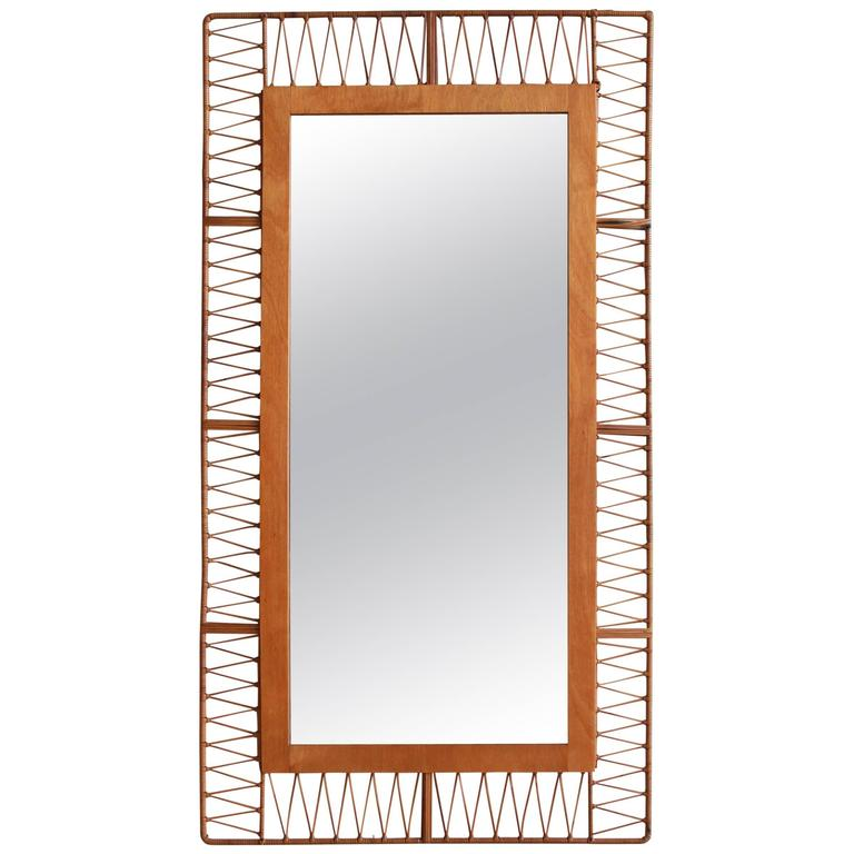 French Rectangular Mirror with Unique Rattan Pattern For Sale