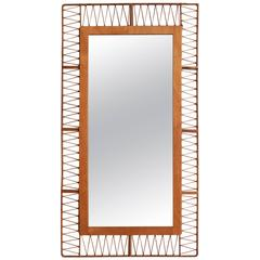 French Rectangular Mirror with Unique Rattan Pattern