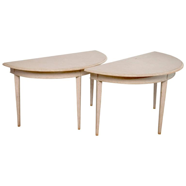 Pair of Gustavian Demilune Tables Scraped to Their Original Color