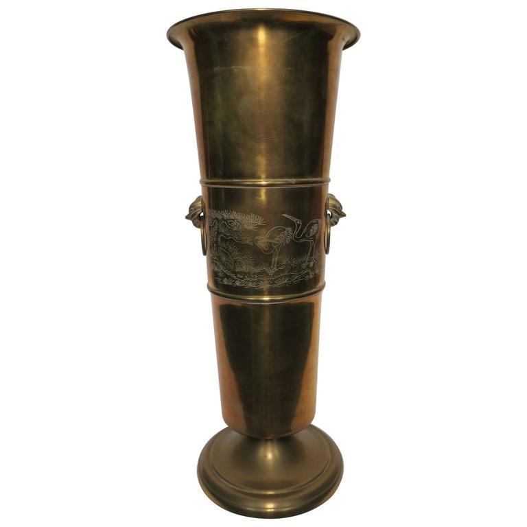 Brass Umbrella Stand Embossed: Vintage Brass Urn Umbrella Stand At 1stdibs