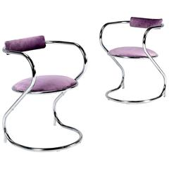 Art Deco Lavender Velvet and Chrome Arm Chairs