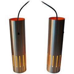 Pair of Jo Hammerborg Trombone Pendant Lamps for Fog & Morup, Denmark, 1960s