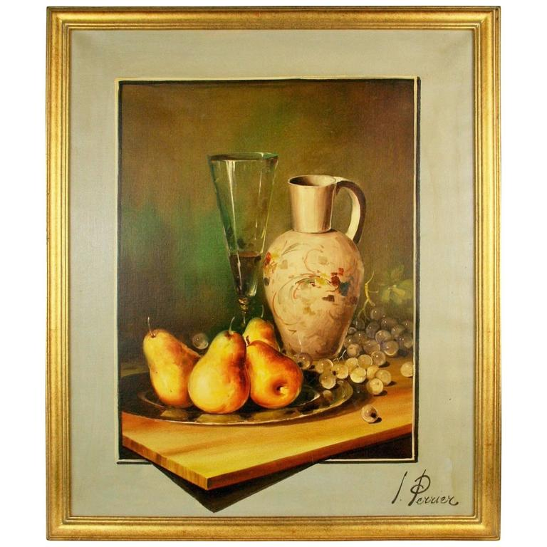 Oil Painting-Pears and Champagne Still Life