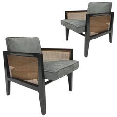 Pair of Edward Wormley for Dunbar Cane Sided Lounge Chairs Model 5513
