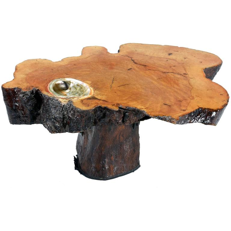1970s Cedar Slab Coffee Table With Abalone Shell For Sale