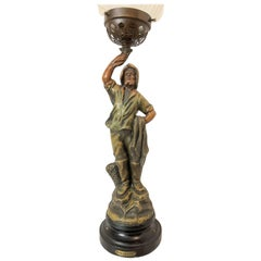 """Newel Post Light or Lamp with Flame Shade Titled the """"Pecheur"""" on the Base"""