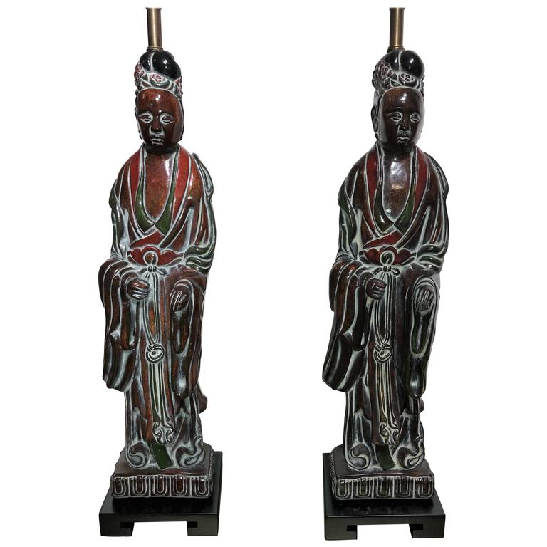 Pair of 1940s Quan Yin Table Lamps Attributed to Frederick Cooper