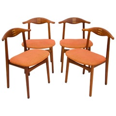 Rare Set of Four Teak Cowhorn Style Dining Chairs by Randers Stolefabrik