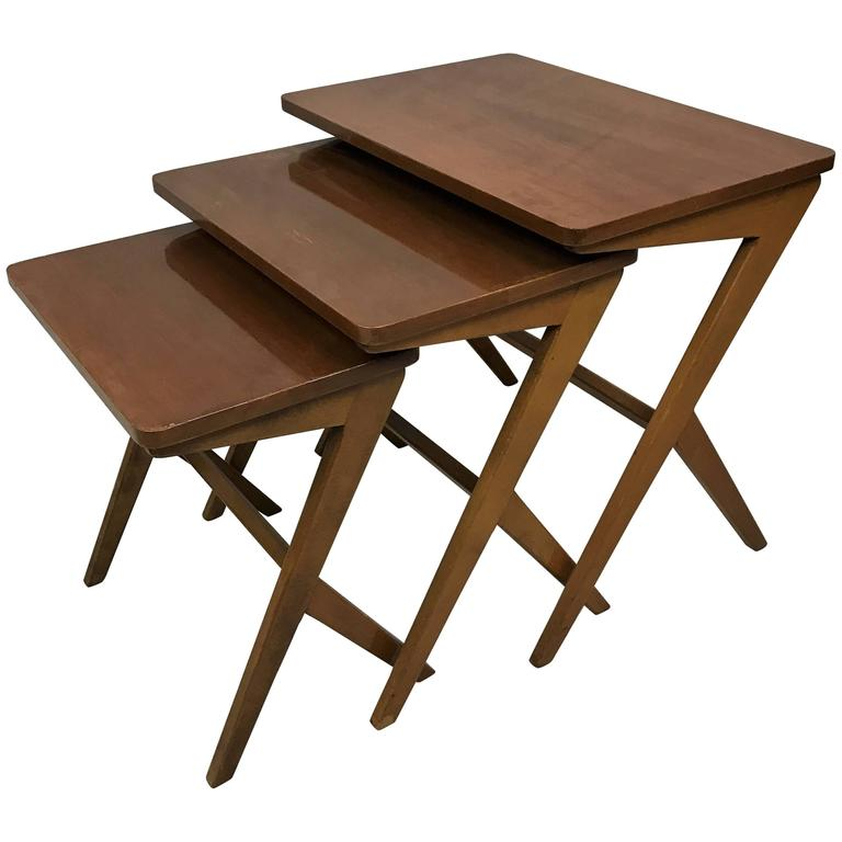 20th Century, Teak Nesting Tables Attributed to Ico Parisi