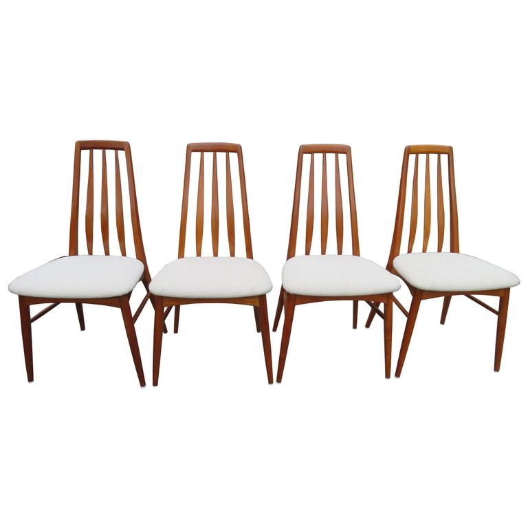 Lovely Set of Four Teak Eva Dining Room Chairs by Niels Koefoed, 1960s