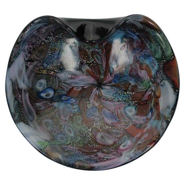 Black and Mulit-Colored Italian Murano Art Glass Bowl For Sale