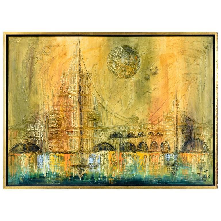 mid century oil painting by van hoople at 1stdibs