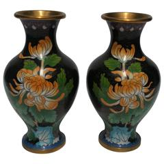 Pair of Chinese Black and Green Cloisonné́ and Brass Chrysanthemum Flower Vases