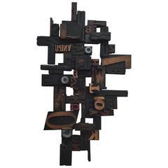 Letterpress Printing Wood Block Wall Sculpture