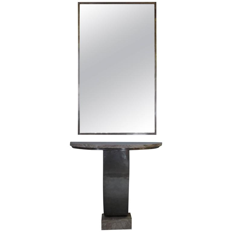 Fine French, Art Deco Hammered Metal and Marble Console Table with Mirror