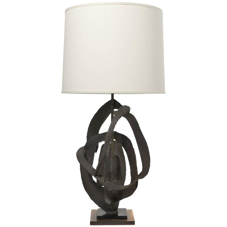 Harry Balmer Table Lamp with Brutalist Sculpture Base by Laurel For Sale