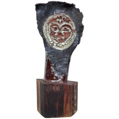 Mid-Century Modern Brutalist Glazed Clay Owl Sculpture