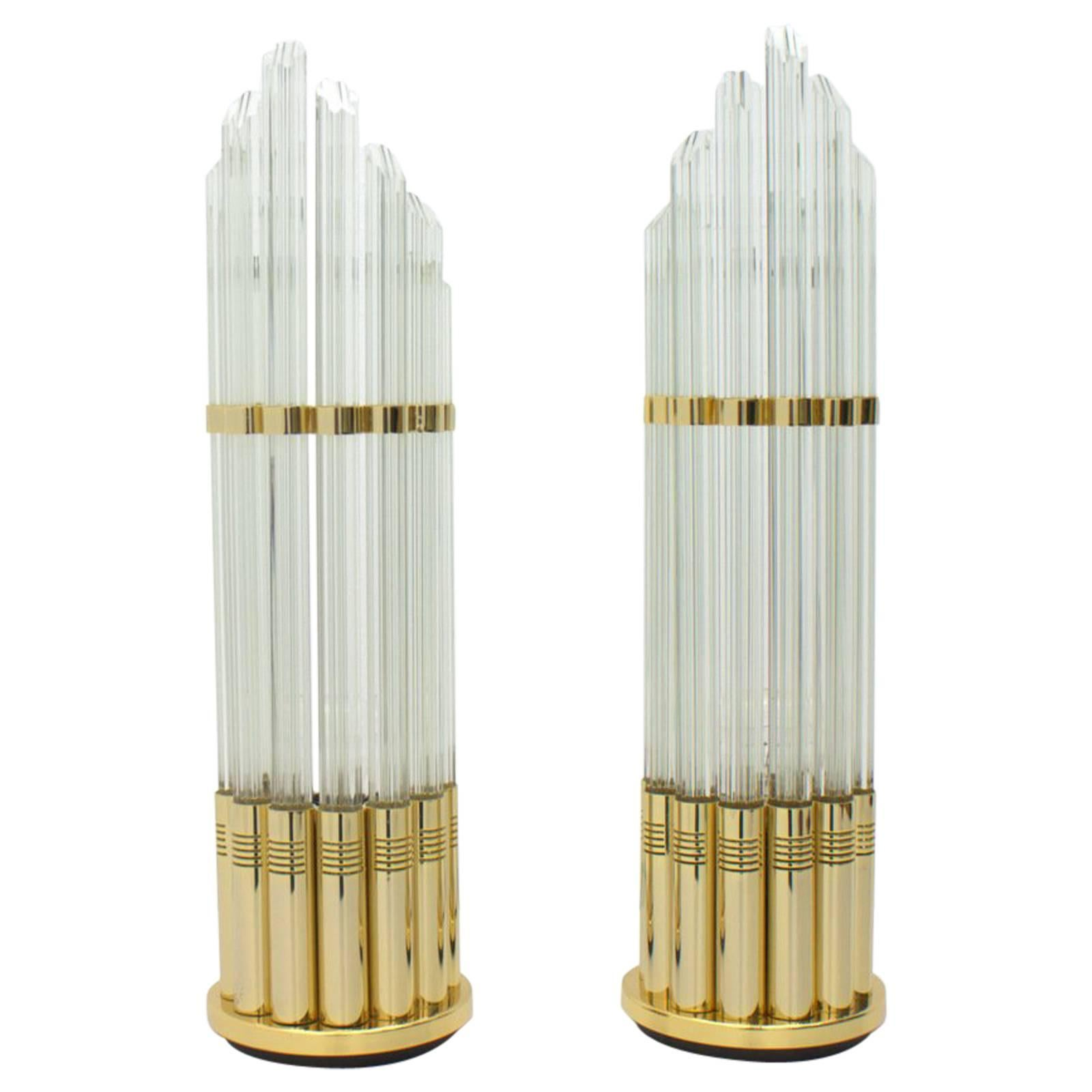 Pair of Murano Glass Table Lamps with Gilded Brass, Italy, 1970s