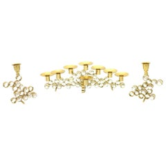 Set of Three Crystal and Gilded Candleholder by Palwa Germany, 1960s