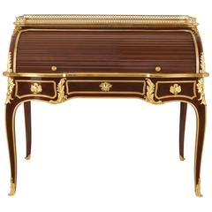 Ormolu-Mounted Mahogany, Amaranth and Walnut Parquetry Roll Top Antique Desk