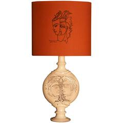 Jean Marais, Lampshade and Indian Ink Drawing, 20th Century