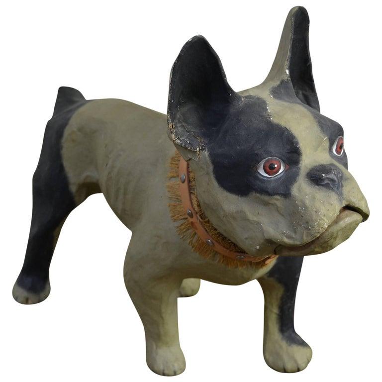 Vintage Papier Mâché Bulldog Toy Dog  For Sale