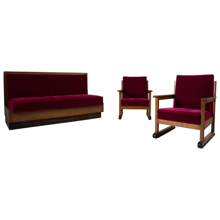 Haagse School Art Deco Living Room Set With Red Velours Upholstery For Sale A