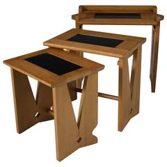 Guillerme et Chambron Set of Three Nesting Tables in Oak