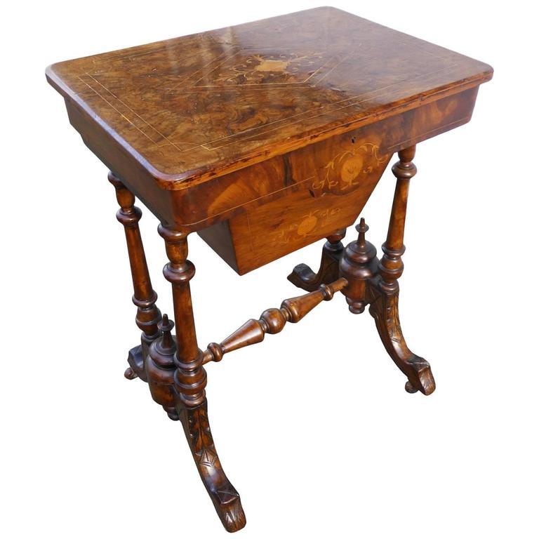 victorian burr walnut inlaid work table for sale at 1stdibs. Black Bedroom Furniture Sets. Home Design Ideas