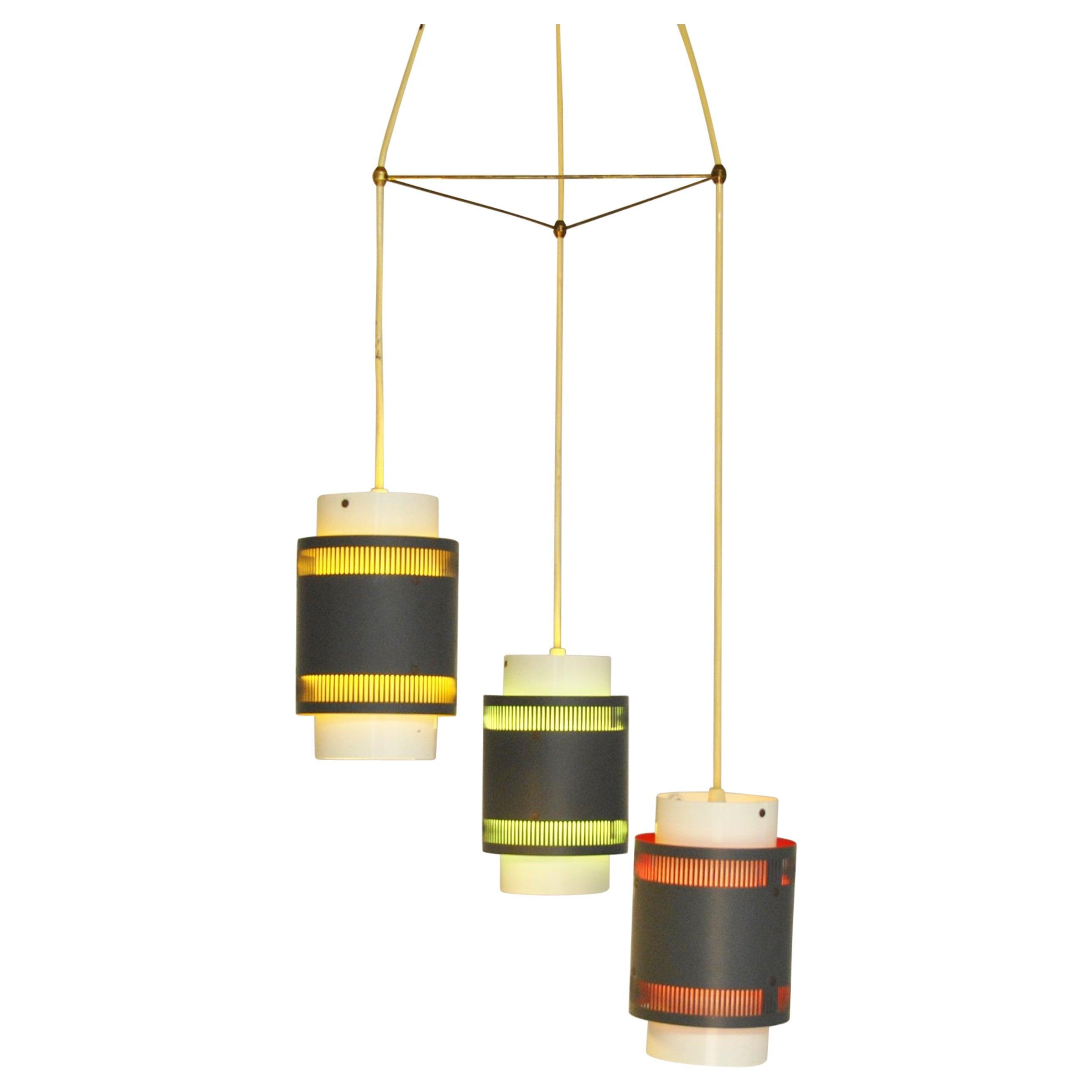 Vintage Triple Pendant Light, Denmark, 1960s