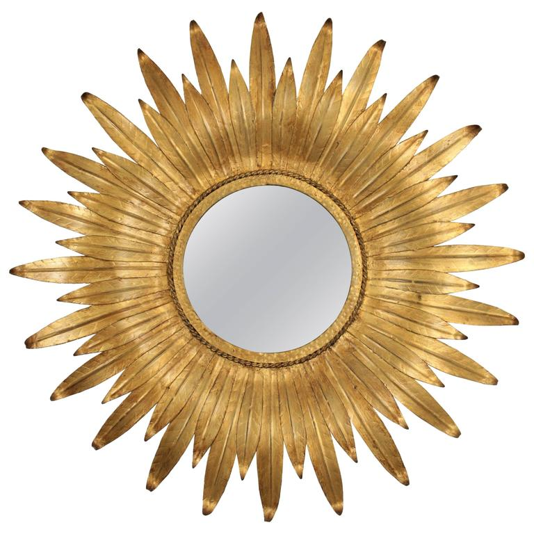 1950s Spanish Gilt Iron Leafed Sunburst Mirror