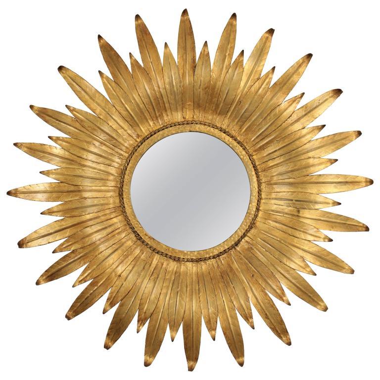 Mid-Century Modern Spanish Gilt Iron Leafed Sunburst Mirror For Sale