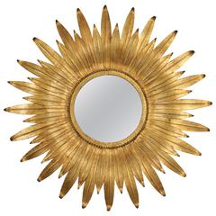 MId-Century Modern Spanish Gilt Iron Leafed Sunburst Mirror