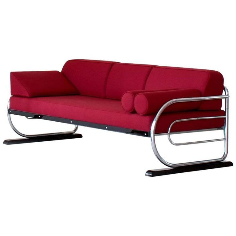 Tubular Steel Couch / Daybed in Art Deco Streamline Design, circa 1930 For Sale