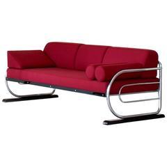 Röhrenförmiges Stahl Sofa / Ruhebett im Art Deco Streamline Design, circa 1930