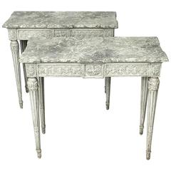 Pair of French Style Louis XVI Consoles, 19th Century