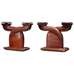 Louis Prodhon Pair of Candleholders in Wenge, France, 1940s