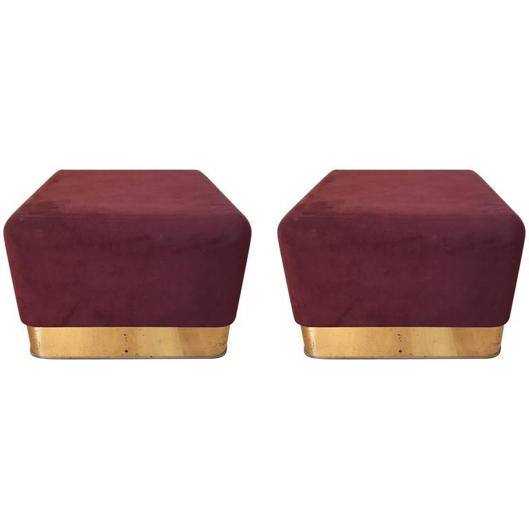 Pair of Milo Baughman Cube Footstools for Thayer Coggin