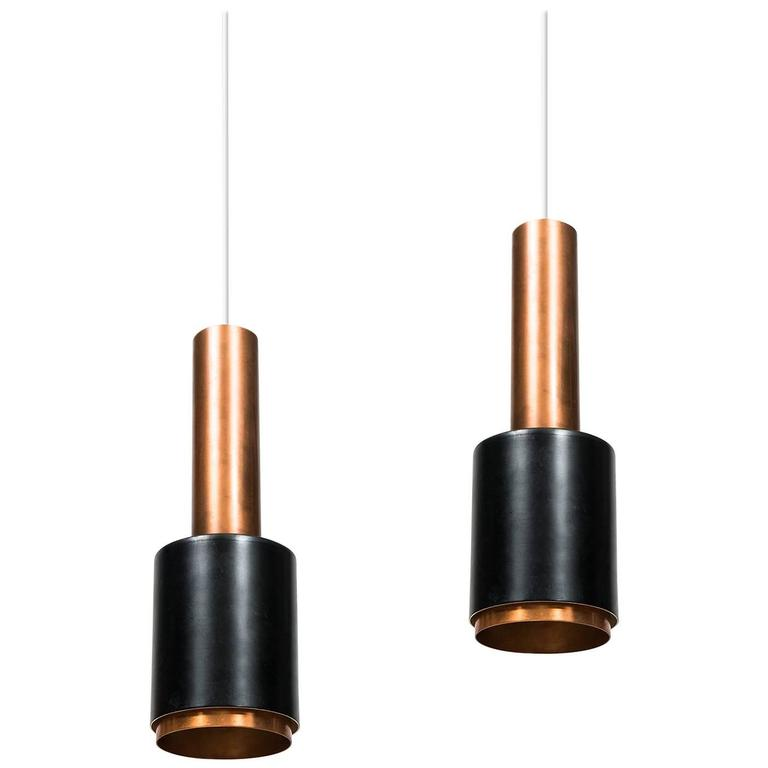 Pair of Ceiling Lamps in Copper and Black Lacquered Metal