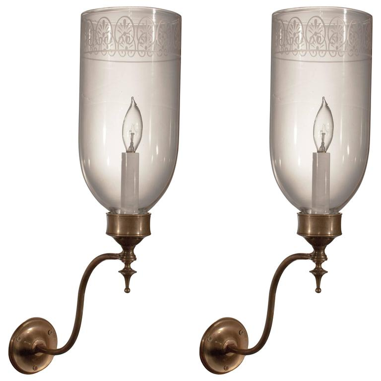 Hurricane Wall Sconces Lamps : Pair of English Fleur de lis Hurricane Wall Sconces at 1stdibs
